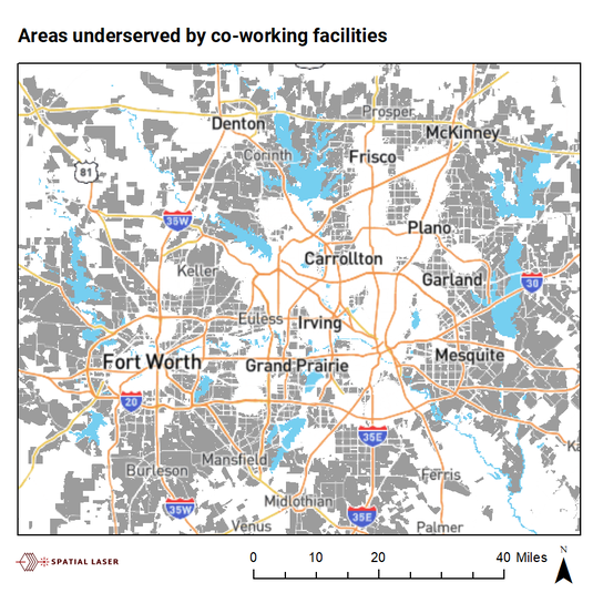 areas underserved by coworking spaces in dallas fort worth