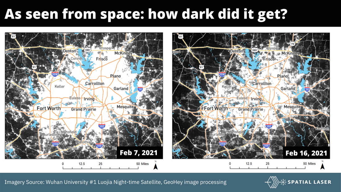 Satellite image of the dallas texas blackout before and after.